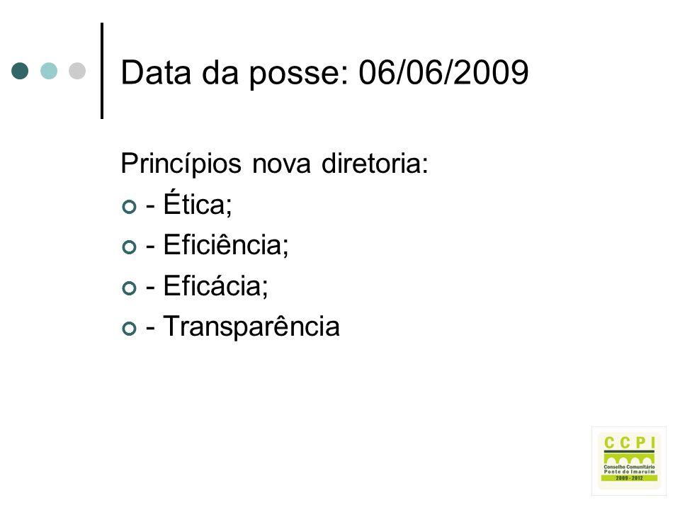 Data da posse: 06/06/2009 Princípios nova diretoria: - Ética; - Eficiência; - Eficácia; - Transparência