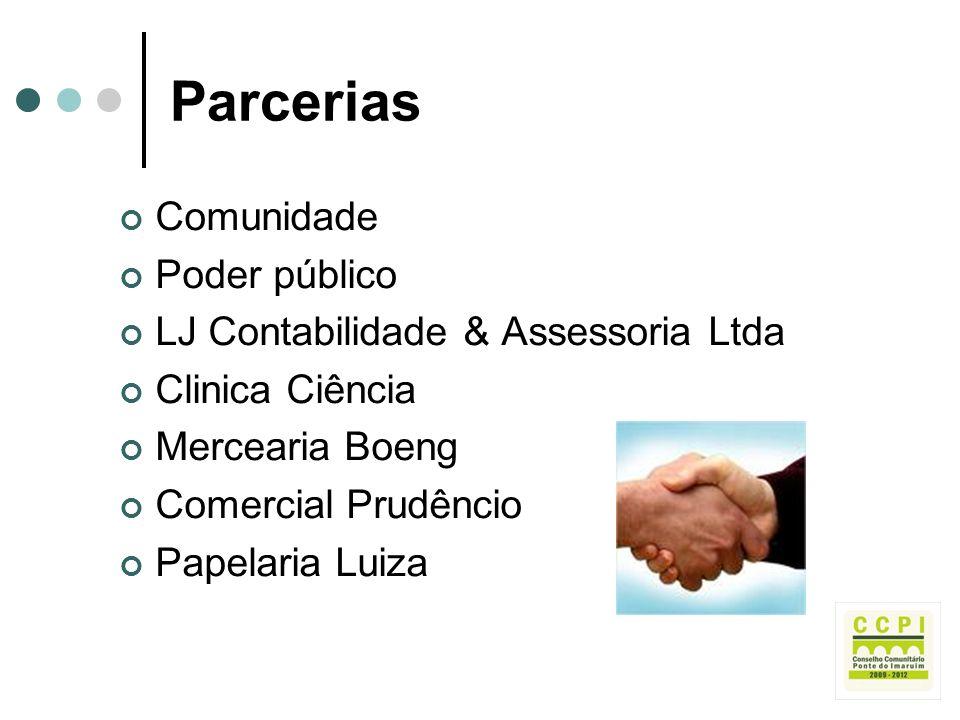 Parcerias Comunidade Poder público LJ Contabilidade & Assessoria Ltda Clinica Ciência Mercearia Boeng Comercial Prudêncio Papelaria Luiza