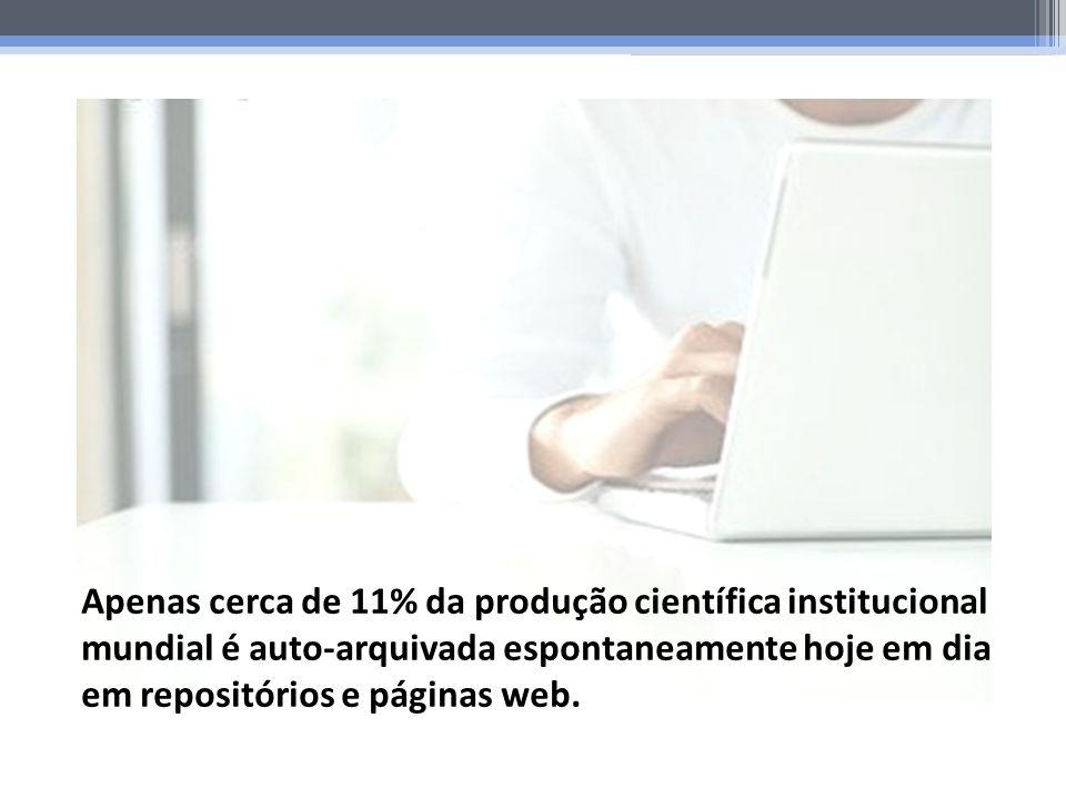 Apenas cerca de 11% da produção científica institucional mundial é auto-arquivada espontaneamente hoje em dia em repositórios e páginas web.