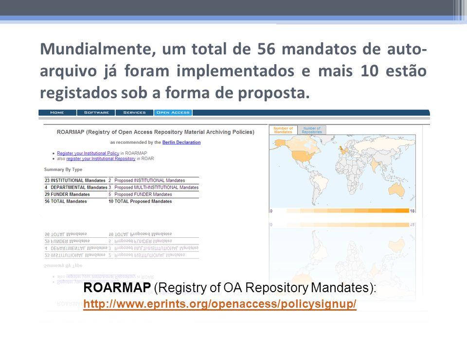 Mundialmente, um total de 56 mandatos de auto- arquivo já foram implementados e mais 10 estão registados sob a forma de proposta. ROARMAP (Registry of