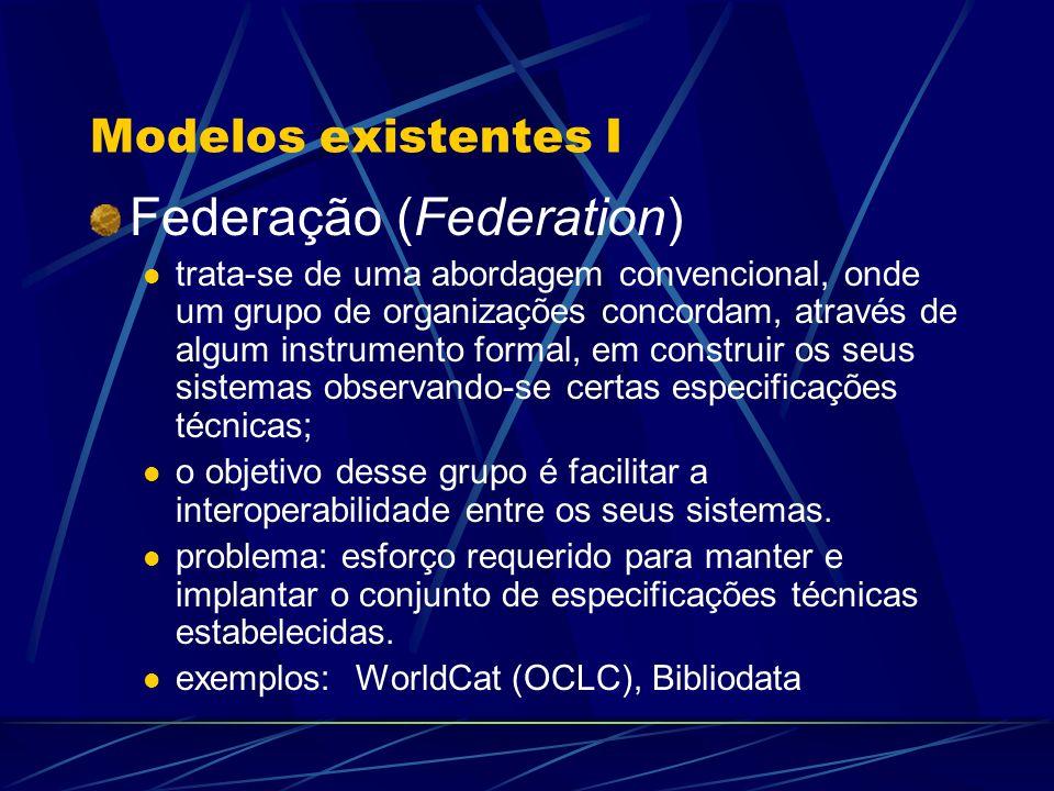 Modelos existentes I Federação (Federation) trata-se de uma abordagem convencional, onde um grupo de organizações concordam, através de algum instrume