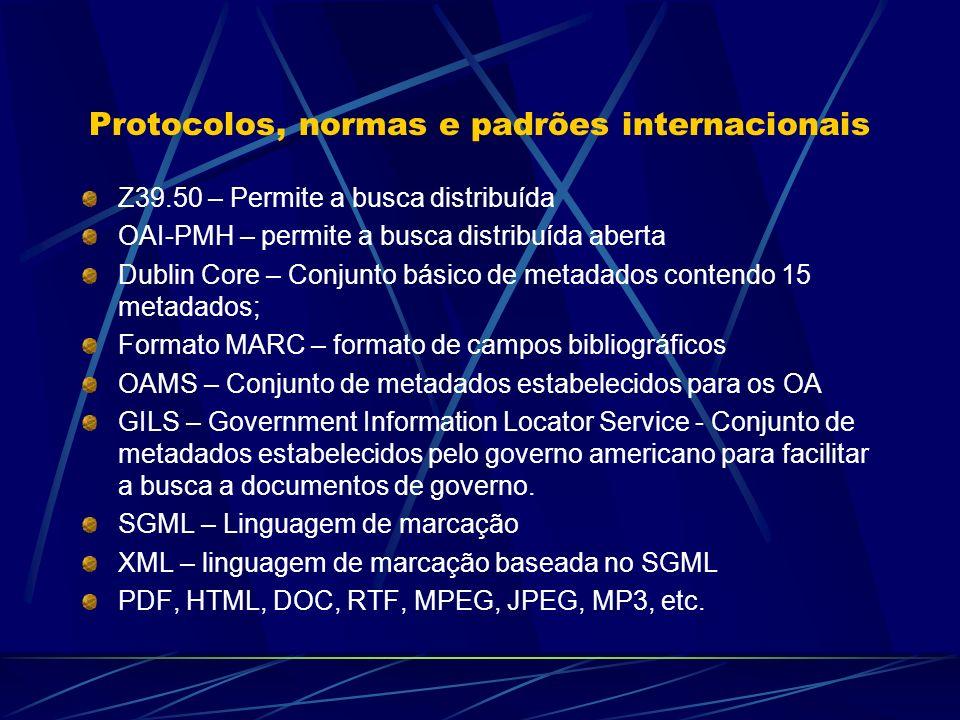 Protocolos, normas e padrões internacionais Z39.50 – Permite a busca distribuída OAI-PMH – permite a busca distribuída aberta Dublin Core – Conjunto b
