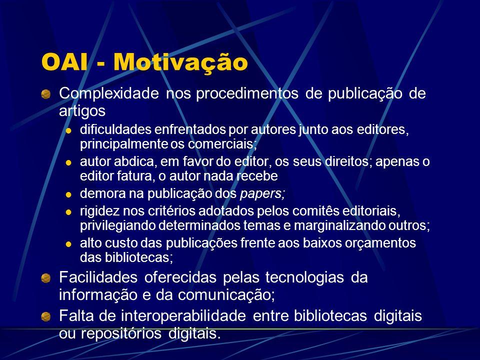 OAI - Motivação Complexidade nos procedimentos de publicação de artigos dificuldades enfrentados por autores junto aos editores, principalmente os com