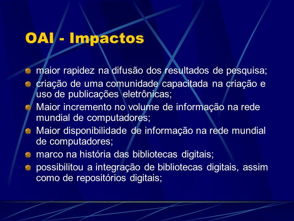 OAI - Impactos maior rapidez na difusão dos resultados de pesquisa; criação de uma comunidade capacitada na criação e uso de publicações eletrônicas;