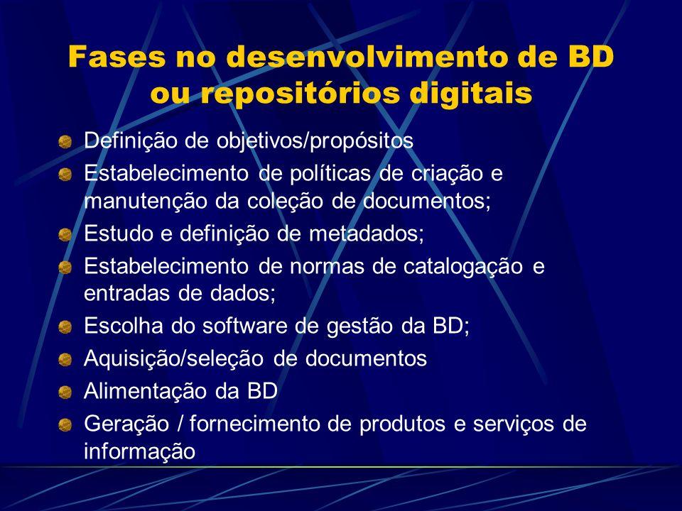 Fases no desenvolvimento de BD ou repositórios digitais Definição de objetivos/propósitos Estabelecimento de políticas de criação e manutenção da cole
