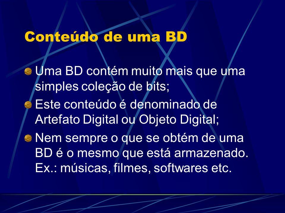 Conteúdo de uma BD Uma BD contém muito mais que uma simples coleção de bits; Este conteúdo é denominado de Artefato Digital ou Objeto Digital; Nem sem