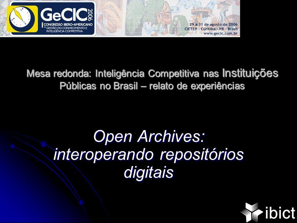 Mesa redonda: Inteligência Competitiva nas Instituições Públicas no Brasil – relato de experiências Open Archives: interoperando repositórios digitais