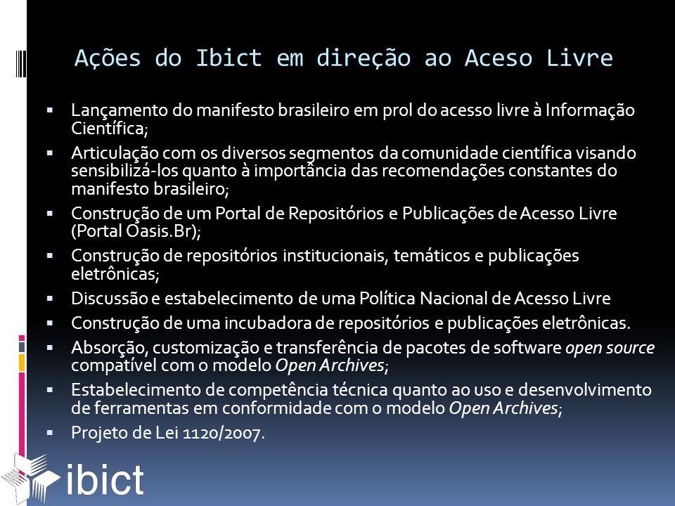 Ações do Ibict em direção ao Aceso Livre Lançamento do manifesto brasileiro em prol do acesso livre à Informação Científica; Articulação com os divers
