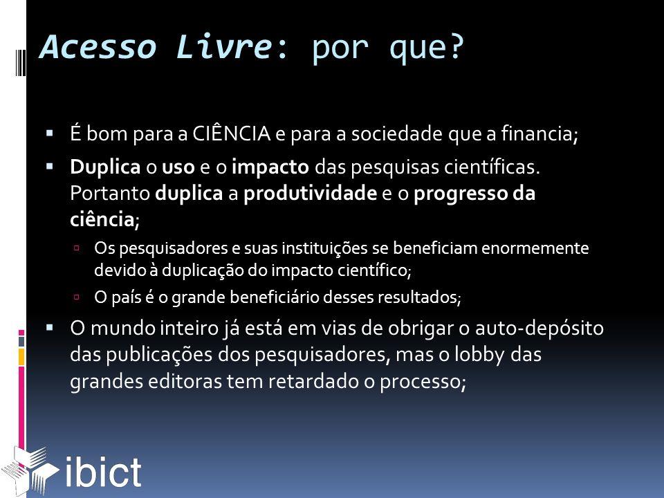 Acesso Livre: por que? É bom para a CIÊNCIA e para a sociedade que a financia; Duplica o uso e o impacto das pesquisas científicas. Portanto duplica a