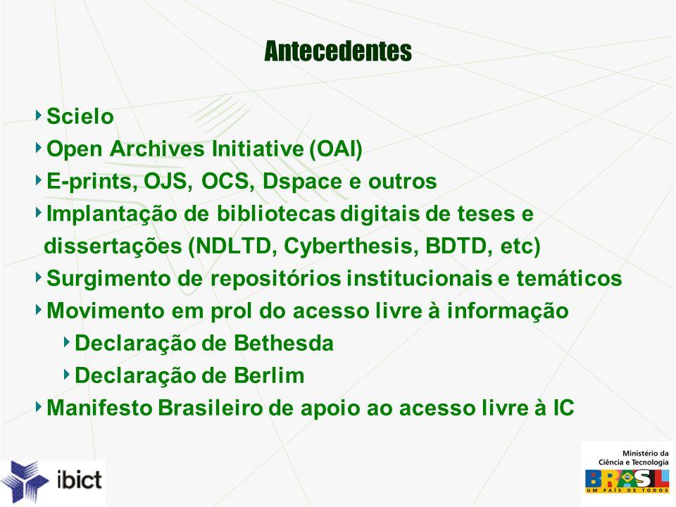 Antecedentes Scielo Open Archives Initiative (OAI) E-prints, OJS, OCS, Dspace e outros Implantação de bibliotecas digitais de teses e dissertações (NDLTD, Cyberthesis, BDTD, etc) Surgimento de repositórios institucionais e temáticos Movimento em prol do acesso livre à informação Declaração de Bethesda Declaração de Berlim Manifesto Brasileiro de apoio ao acesso livre à IC