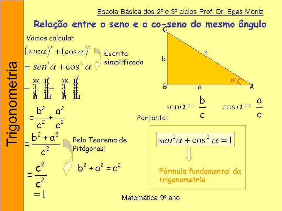 Trigonometria Escola Básica dos 2º e 3º ciclos Prof. Dr. Egas Moniz Matemática 9º ano Relação entre o seno e o co-seno do mesmo ângulo Vamos calcular