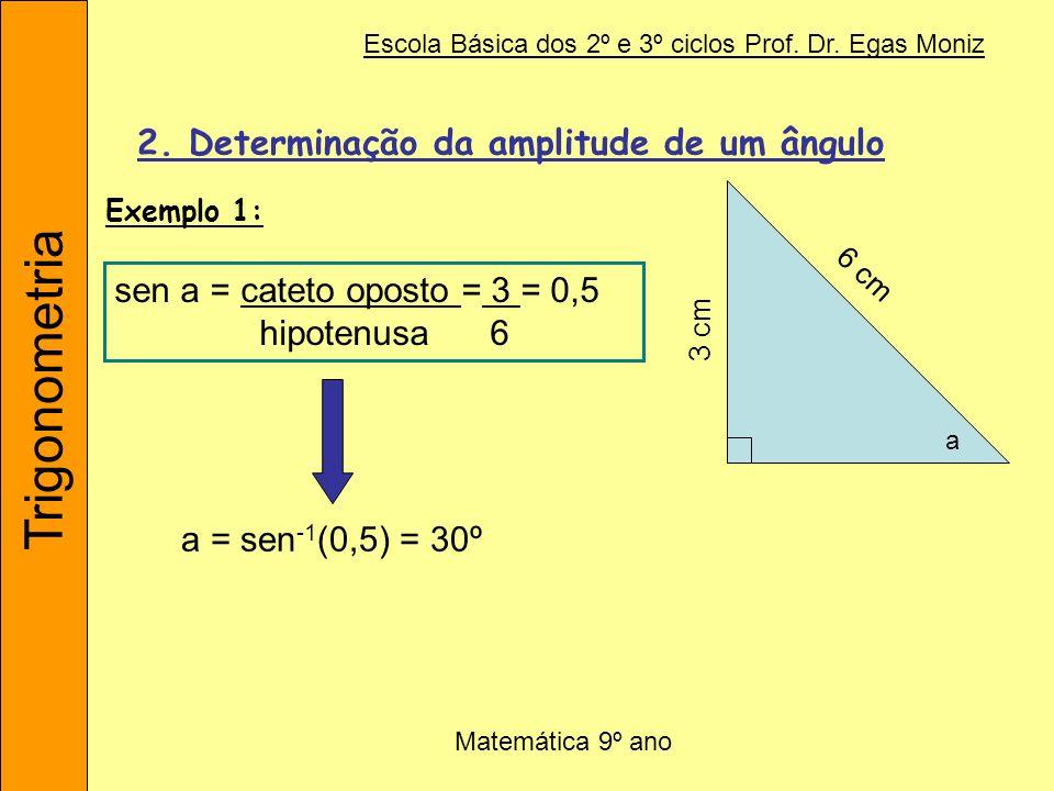 Trigonometria Escola Básica dos 2º e 3º ciclos Prof. Dr. Egas Moniz Matemática 9º ano 2. Determinação da amplitude de um ângulo sen a = cateto oposto