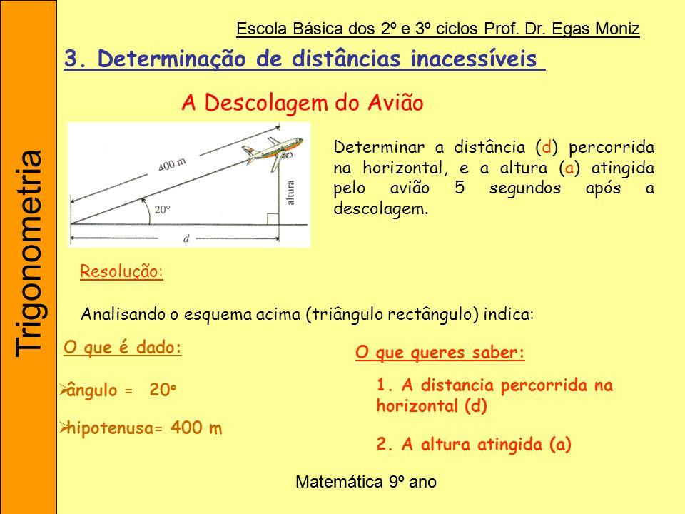 Trigonometria Escola Básica dos 2º e 3º ciclos Prof. Dr. Egas Moniz Matemática 9º ano Determinar a distância (d) percorrida na horizontal, e a altura