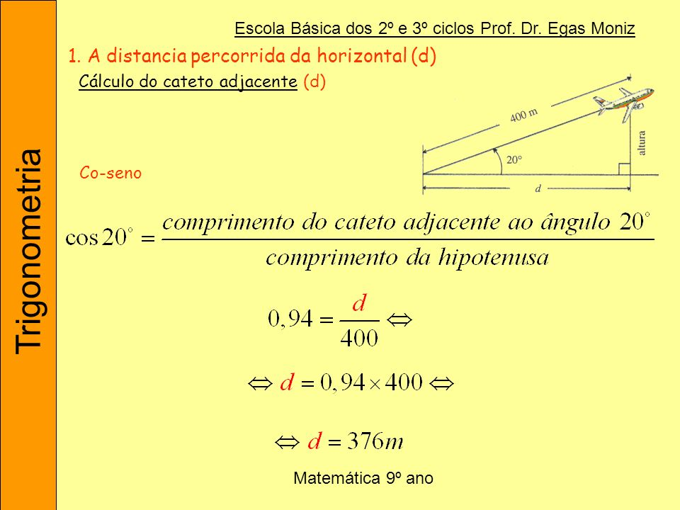 Trigonometria Escola Básica dos 2º e 3º ciclos Prof. Dr. Egas Moniz Matemática 9º ano 1. A distancia percorrida da horizontal (d) Co-seno Cálculo do c
