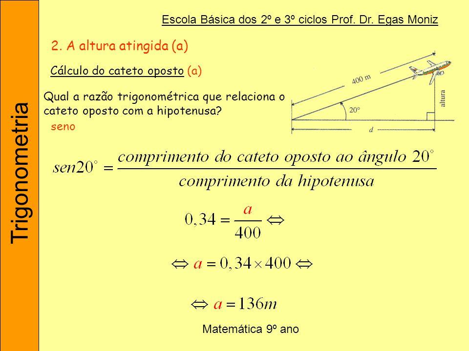 Trigonometria Escola Básica dos 2º e 3º ciclos Prof. Dr. Egas Moniz Matemática 9º ano Qual a razão trigonométrica que relaciona o cateto oposto com a