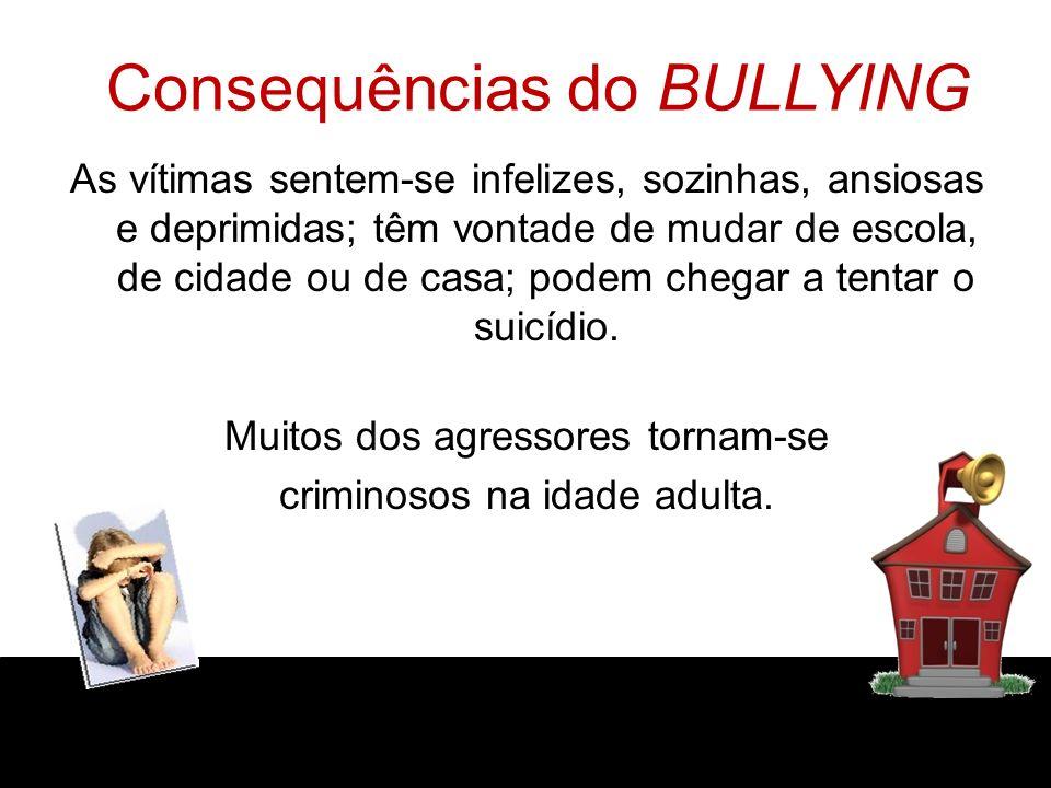 Consequências do BULLYING As vítimas sentem-se infelizes, sozinhas, ansiosas e deprimidas; têm vontade de mudar de escola, de cidade ou de casa; podem