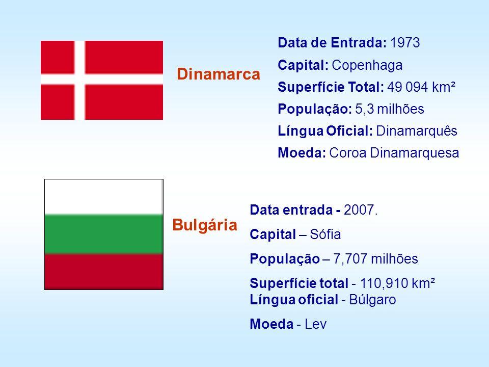 Data de Entrada: 1973 Capital: Copenhaga Superfície Total: 49 094 km² População: 5,3 milhões Língua Oficial: Dinamarquês Moeda: Coroa Dinamarquesa Din