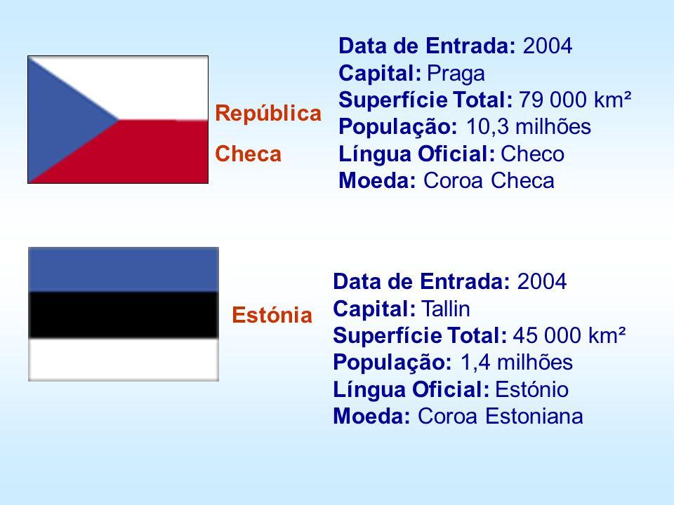 República Checa Estónia Data de Entrada: 2004 Capital: Praga Superfície Total: 79 000 km² População: 10,3 milhões Língua Oficial: Checo Moeda: Coroa C