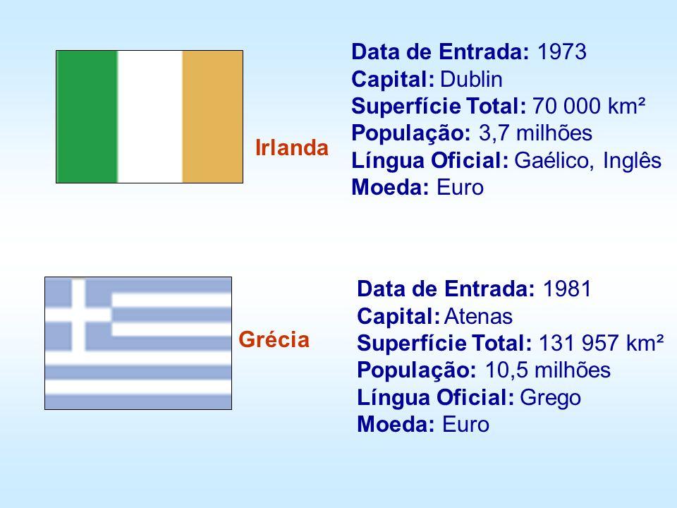 Irlanda Grécia Data de Entrada: 1973 Capital: Dublin Superfície Total: 70 000 km² População: 3,7 milhões Língua Oficial: Gaélico, Inglês Moeda: Euro D