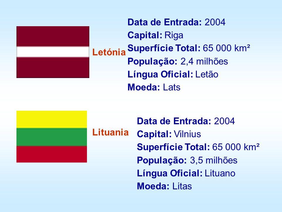 Letónia Lituania Data de Entrada: 2004 Capital: Riga Superfície Total: 65 000 km² População: 2,4 milhões Língua Oficial: Letão Moeda: Lats Data de Ent