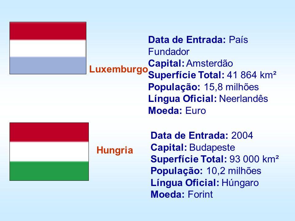 Luxemburgo Hungria Data de Entrada: País Fundador Capital: Amsterdão Superfície Total: 41 864 km² População: 15,8 milhões Língua Oficial: Neerlandês M