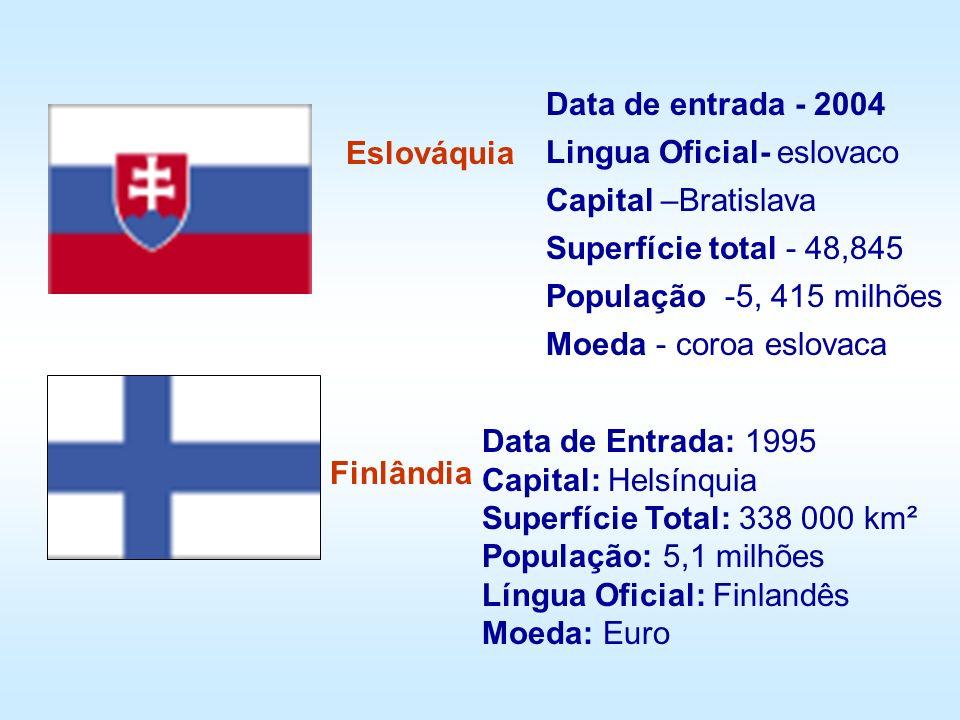 Eslováquia Finlândia Data de Entrada: 1995 Capital: Helsínquia Superfície Total: 338 000 km² População: 5,1 milhões Língua Oficial: Finlandês Moeda: E