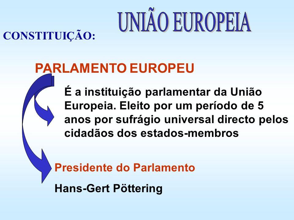 É a instituição parlamentar da União Europeia. Eleito por um período de 5 anos por sufrágio universal directo pelos cidadãos dos estados-membros Presi