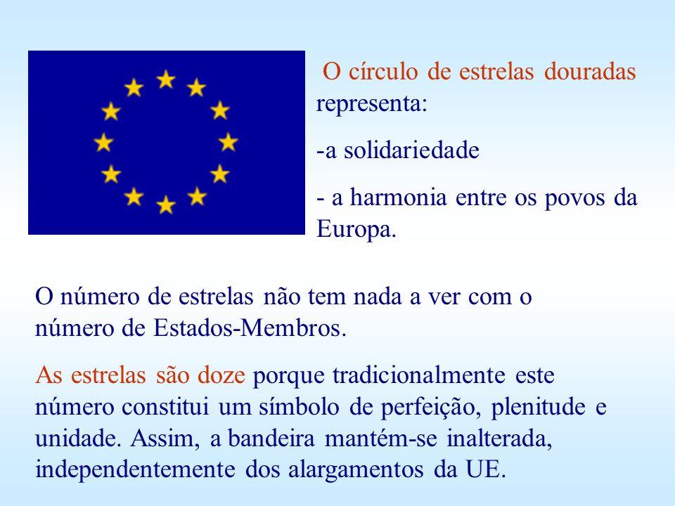 O círculo de estrelas douradas representa: -a-a solidariedade - a harmonia entre os povos da Europa. O número de estrelas não tem nada a ver com o núm