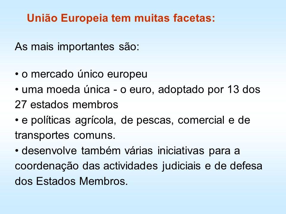 As mais importantes são: o mercado único europeu uma moeda única - o euro, adoptado por 13 dos 27 estados membros e políticas agrícola, de pescas, com
