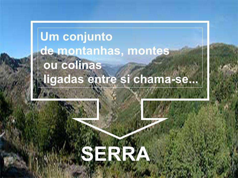 SERRA Um conjunto de montanhas, montes ou colinas ligadas entre si chama-se...
