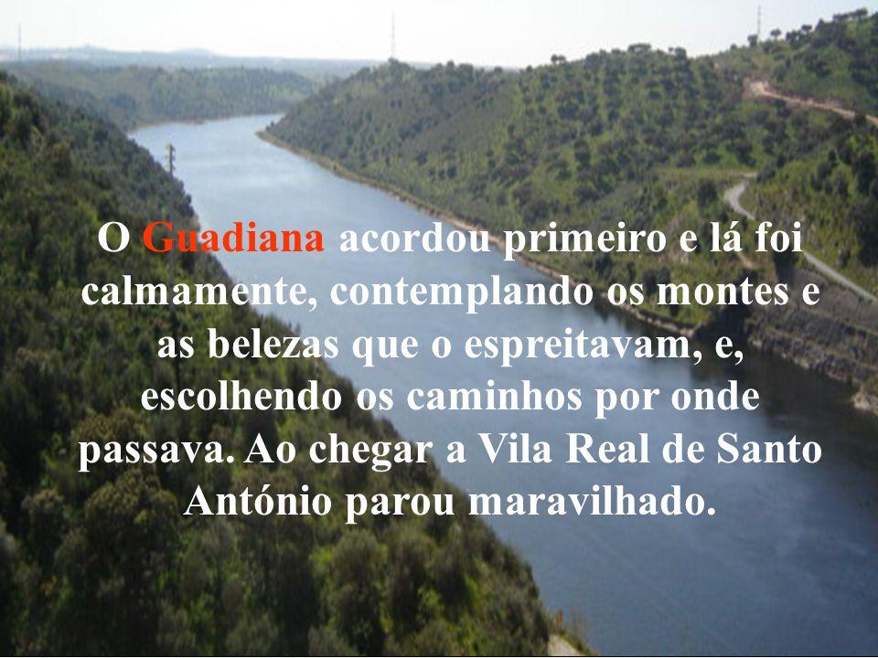 O Guadiana acordou primeiro e lá foi calmamente, contemplando os montes e as belezas que o espreitavam, e, escolhendo os caminhos por onde passava. Ao