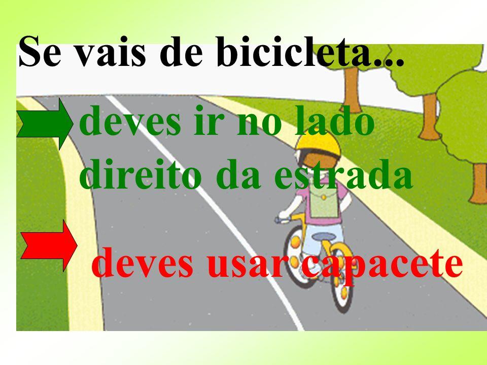 Se vais de bicicleta... deves usar capacete deves ir no lado direito da estrada