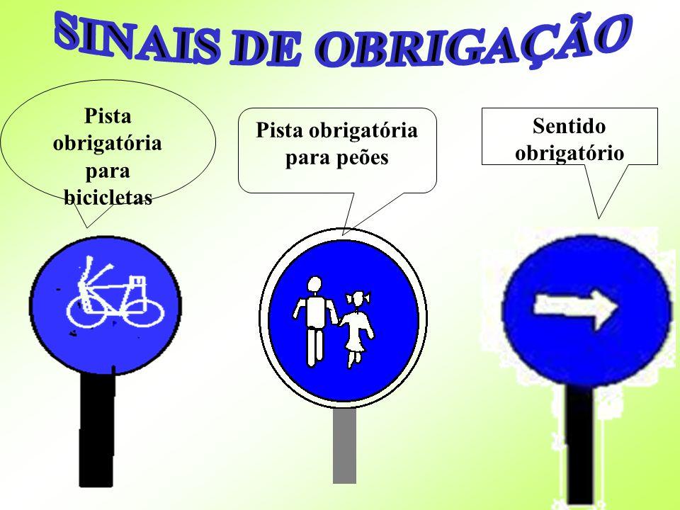 Pista obrigatória para bicicletas Pista obrigatória para peões Sentido obrigatório