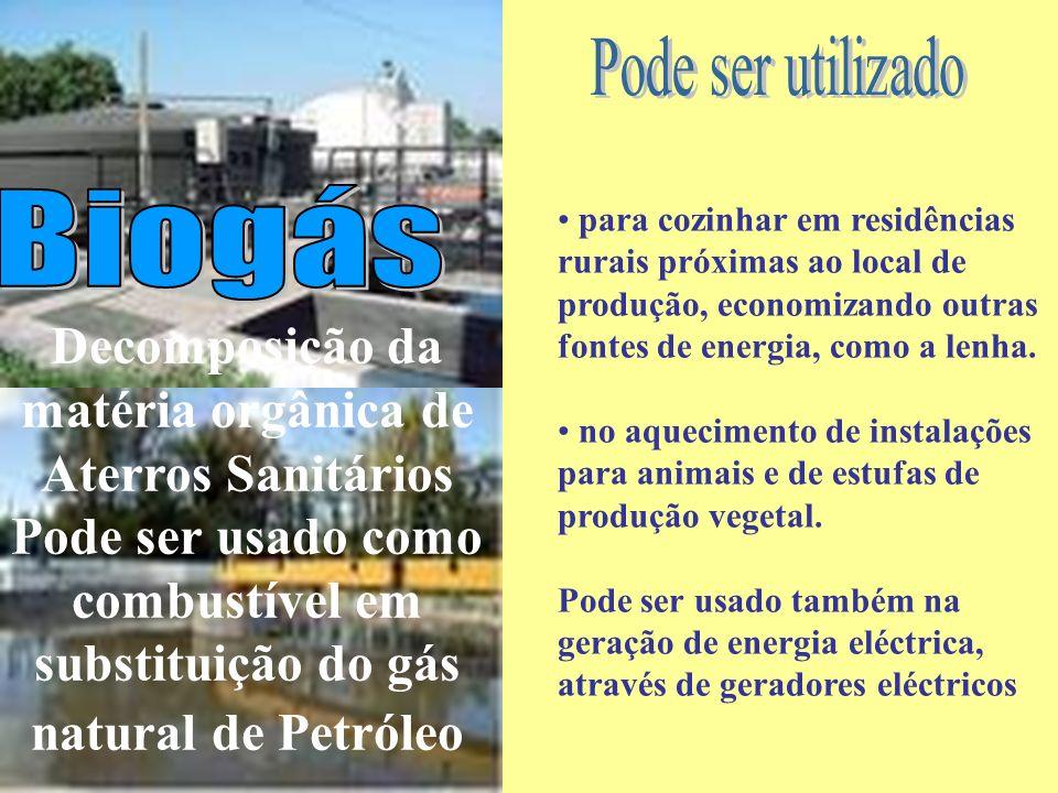 Decomposição da matéria orgânica de Aterros Sanitários Pode ser usado como combustível em substituição do gás natural de Petróleo para cozinhar em res