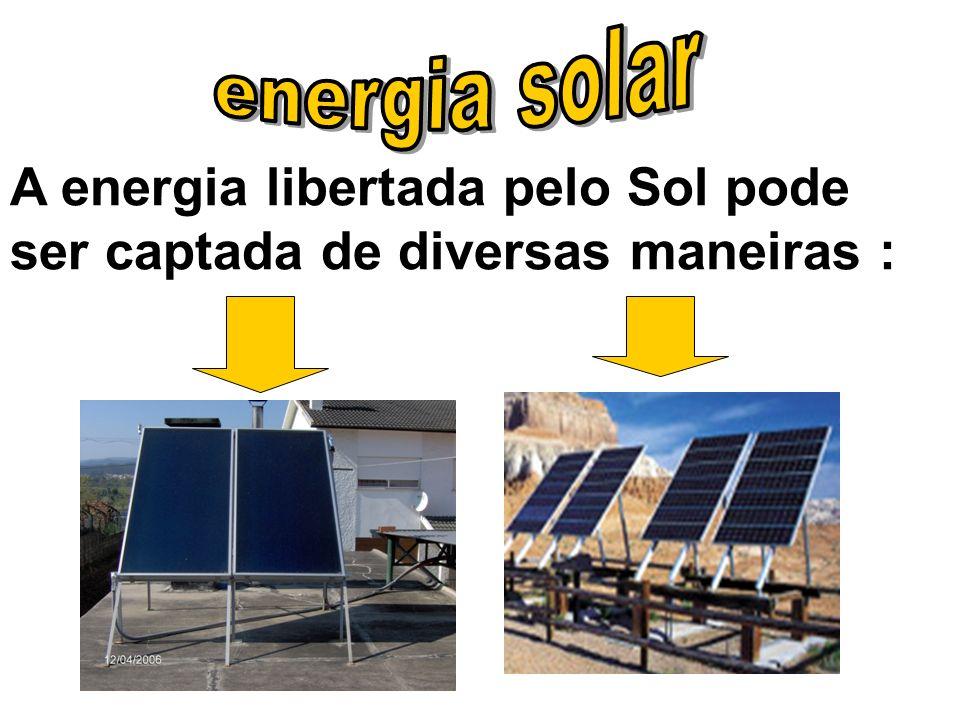 A energia libertada pelo Sol pode ser captada de diversas maneiras :