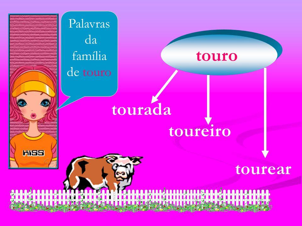 Palavras da família de touro touro tourada toureiro tourear