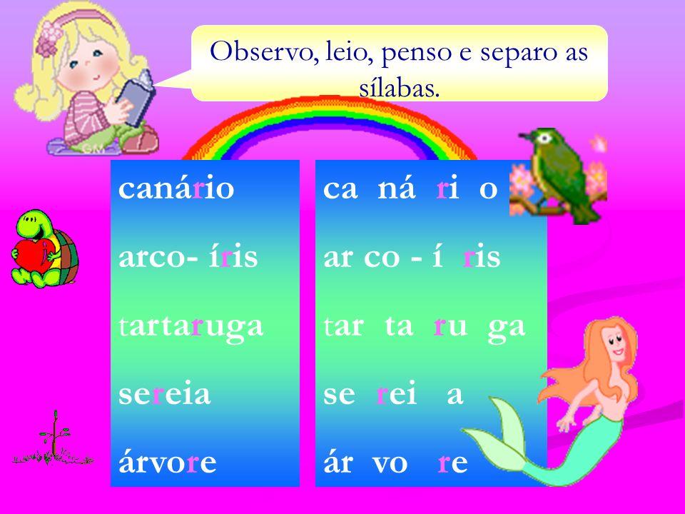 Observo, leio, penso e separo as sílabas. canário arco- íris tartaruga sereia árvore ca ná ri o ar co - í ris tar ta ru ga se rei a ár vo re