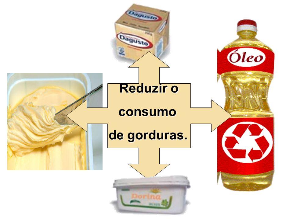 Reduzir o Reduzir oconsumo de gorduras.