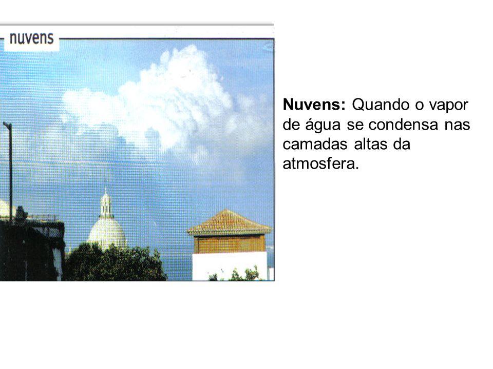 Nuvens: Quando o vapor de água se condensa nas camadas altas da atmosfera.