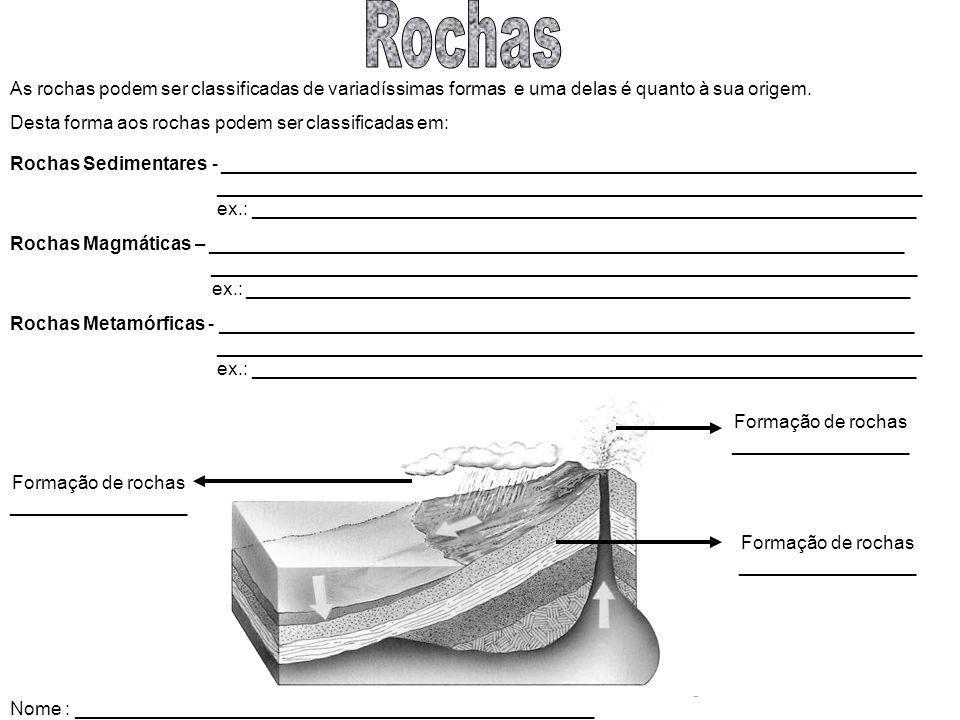 As rochas podem ser classificadas de variadíssimas formas e uma delas é quanto à sua origem. Desta forma aos rochas podem ser classificadas em: Rochas