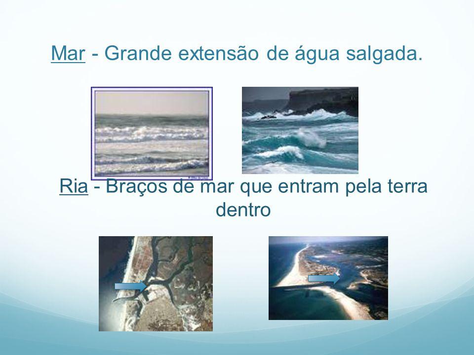 Mar - Grande extensão de água salgada. Ria - Braços de mar que entram pela terra dentro