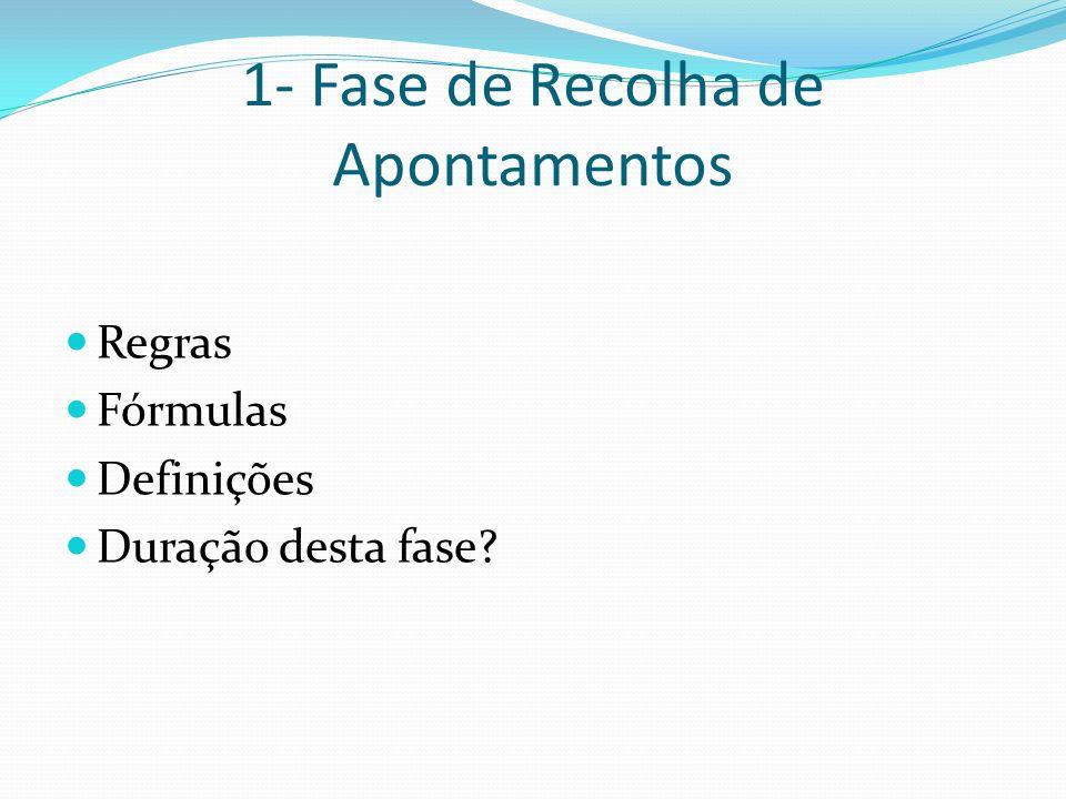 1- Fase de Recolha de Apontamentos Regras Fórmulas Definições Duração desta fase?