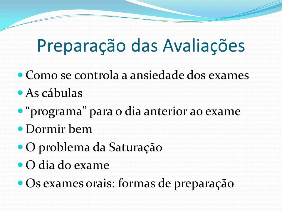 Preparação das Avaliações Como se controla a ansiedade dos exames As cábulas programa para o dia anterior ao exame Dormir bem O problema da Saturação