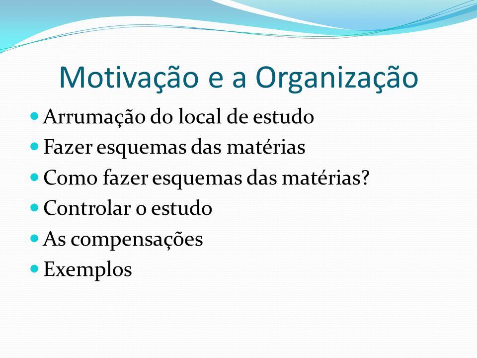 Motivação e a Organização Arrumação do local de estudo Fazer esquemas das matérias Como fazer esquemas das matérias? Controlar o estudo As compensaçõe