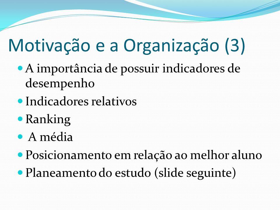 Motivação e a Organização (3) A importância de possuir indicadores de desempenho Indicadores relativos Ranking A média Posicionamento em relação ao me