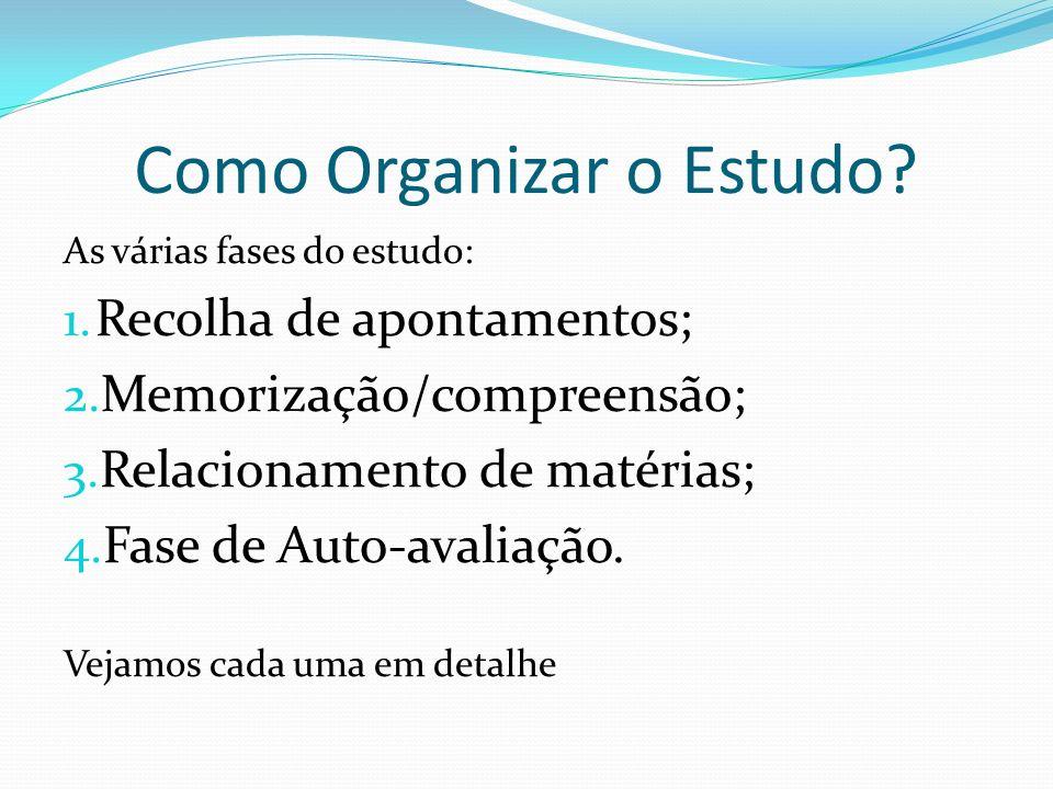 Como Organizar o Estudo? As várias fases do estudo: 1. Recolha de apontamentos; 2. Memorização/compreensão; 3. Relacionamento de matérias; 4. Fase de