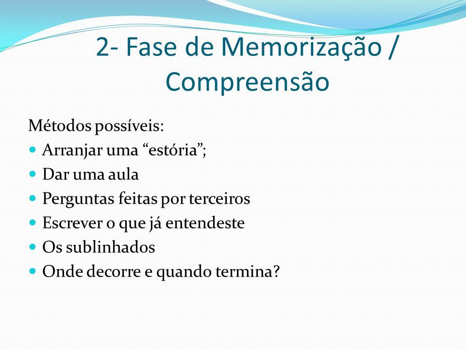 2- Fase de Memorização / Compreensão Métodos possíveis: Arranjar uma estória; Dar uma aula Perguntas feitas por terceiros Escrever o que já entendeste