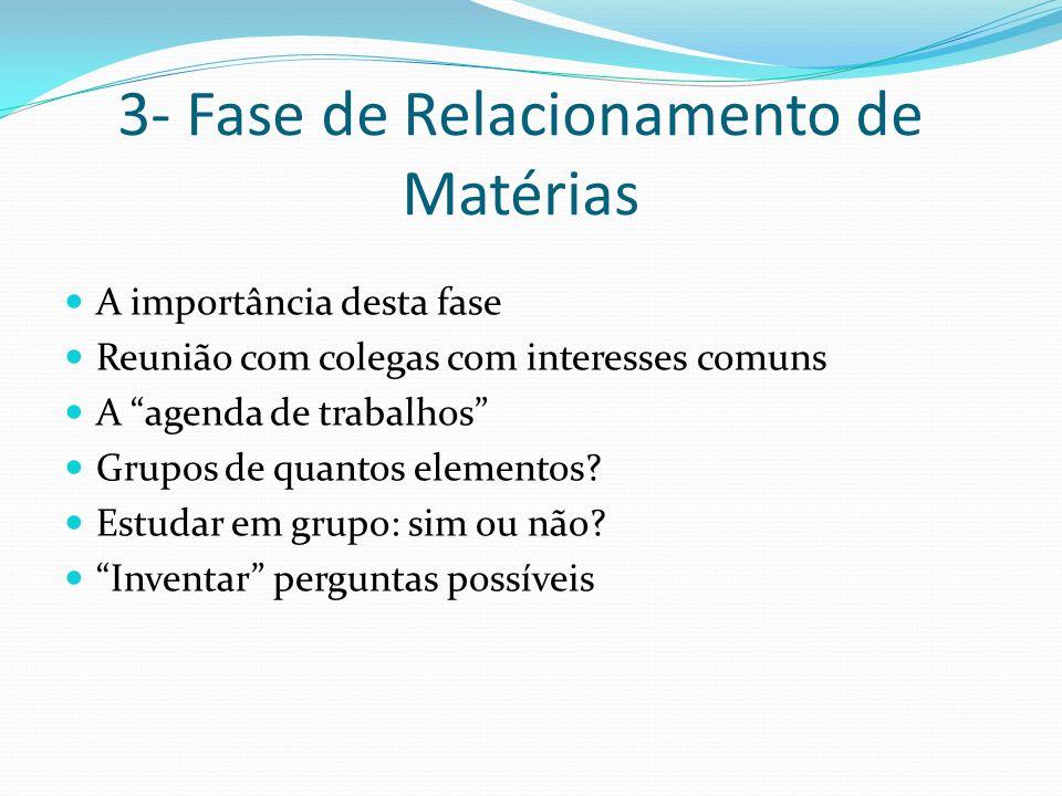 3- Fase de Relacionamento de Matérias A importância desta fase Reunião com colegas com interesses comuns A agenda de trabalhos Grupos de quantos eleme