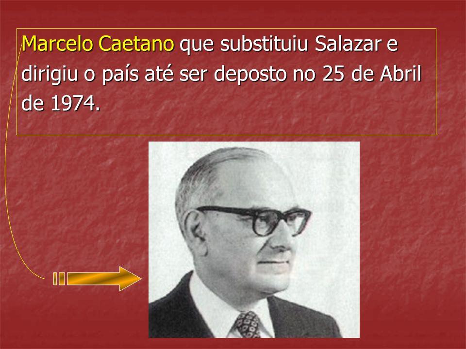 Oliveira Salazar, que em 1933 passou a controlar o país, não mais abandonando o poder até 1968, quando este lhe foi retirado por incapacidade, na sequ