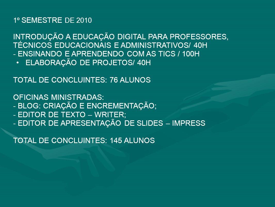 1º SEMESTRE DE 2010 INTRODUÇÃO A EDUCAÇÃO DIGITAL PARA PROFESSORES, TÉCNICOS EDUCACIONAIS E ADMINISTRATIVOS/ 40H - ENSINANDO E APRENDENDO COM AS TICS